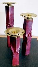 431D-Raspberry Patina with brass dish